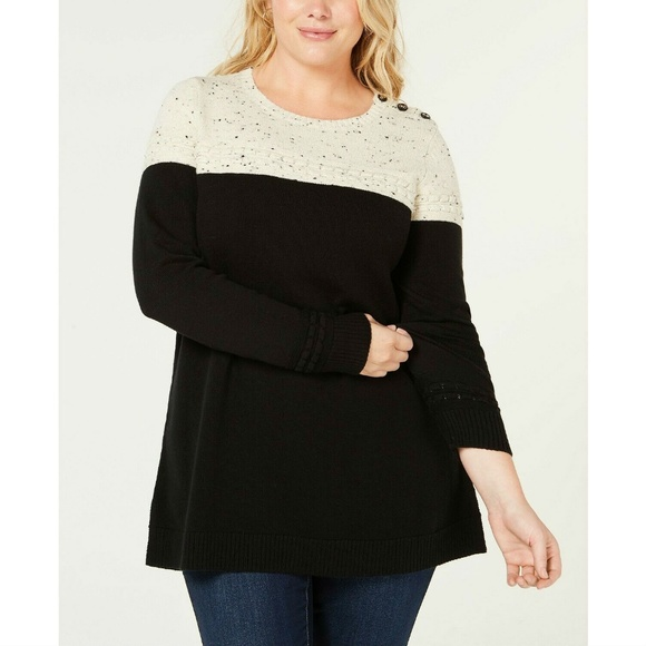 Charter Club Sweaters - Charter Club Black Heather Colorblocked Sweater